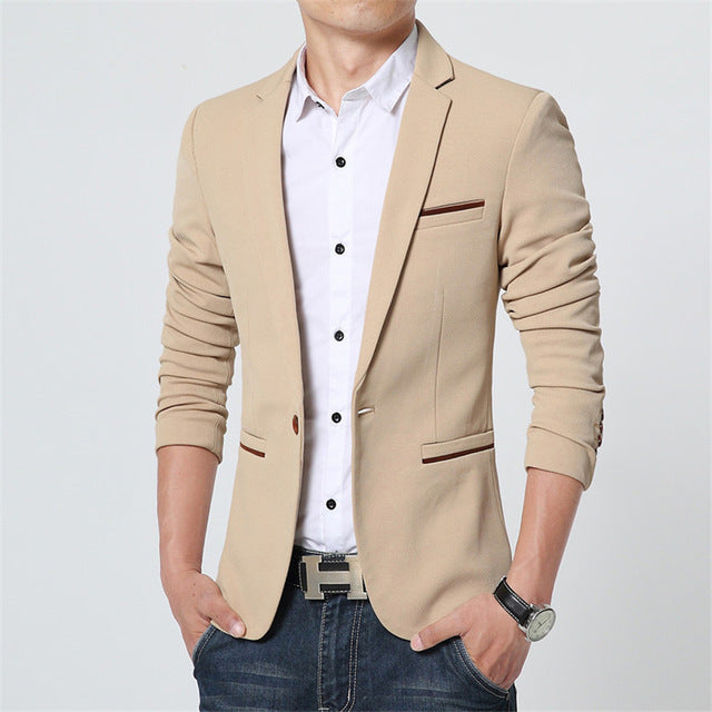 New Spring Autumn Men Solid Color Thin Casual Slim Fit Cotton Blazer Plus Size
