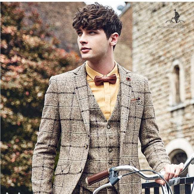 New Autumn Men Fashion Single Breasted Paid Formal Wedding Slim Fit Suits