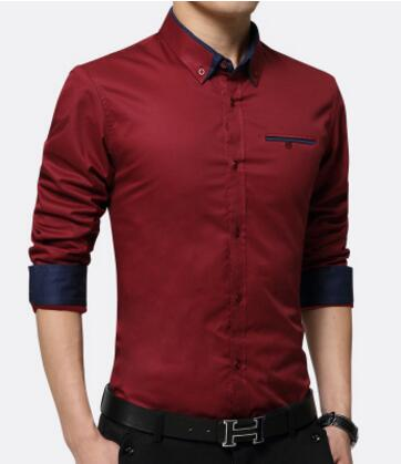 New Men Business Shirts Long Sleeve Turn-down Collar Cotton Slim Fit Shirt