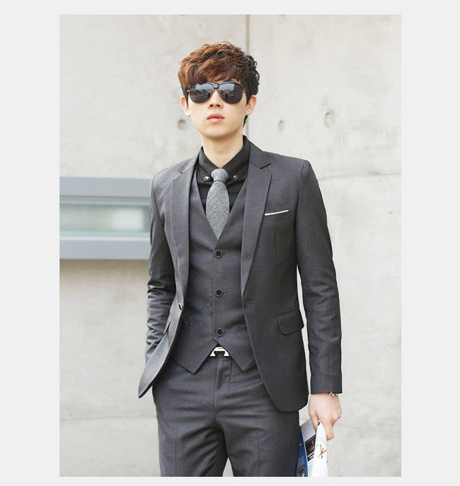 New Spring Autumn Men Classic Slim Fit Business Formal Wedding Party Suits