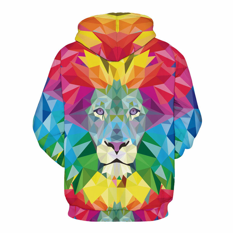 New Stylish Unisex Lion 3D Print Hoodies Watercolor Colorful Blocks Thin Sweatshirts