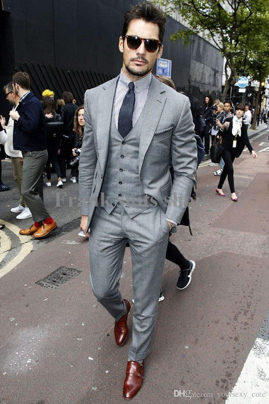 New Men Fashion 3 Piece Grey Formal Wedding Groom Tuxedos Suits