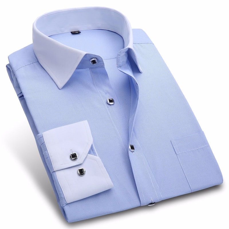 New Autumn Fashion Men's Long Sleeve Dress Shirt White Collar Twill Business Social Formal Shirt