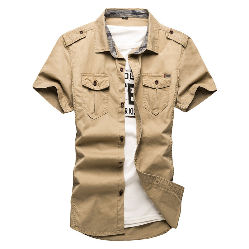 New Men's Cargo Tactical Shirts Cotton Short Sleeve Military Shirt Chemise Plus Size