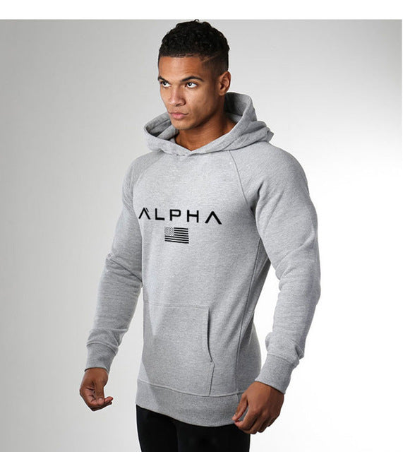 New Men Gyms Bodybuilding Letter Print Hoodies Crossfit Pullover Sweatshirts
