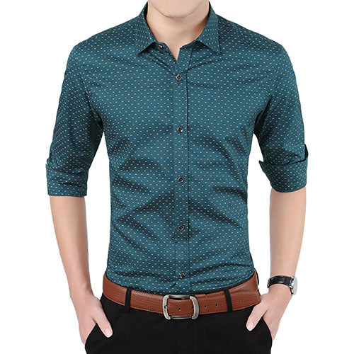 New Autumn Men Long Sleeve Polka Dot Print Slim Fit Social Casual Shirt
