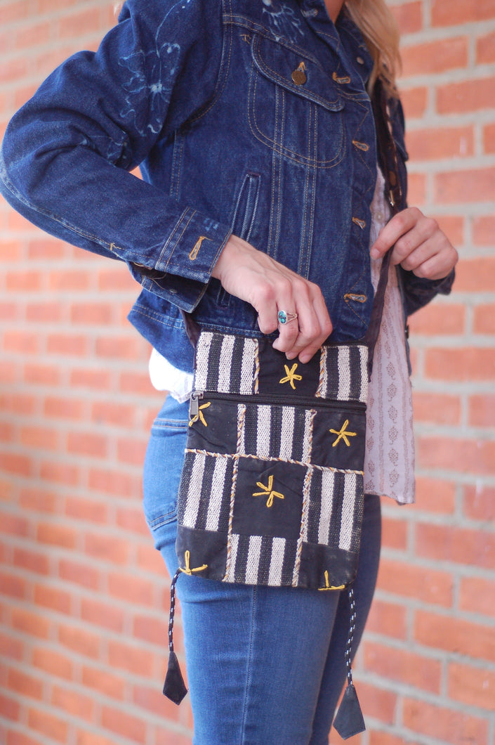 Black and White Over the Shoulder Bohemian Rising  International Fair Trade Purse