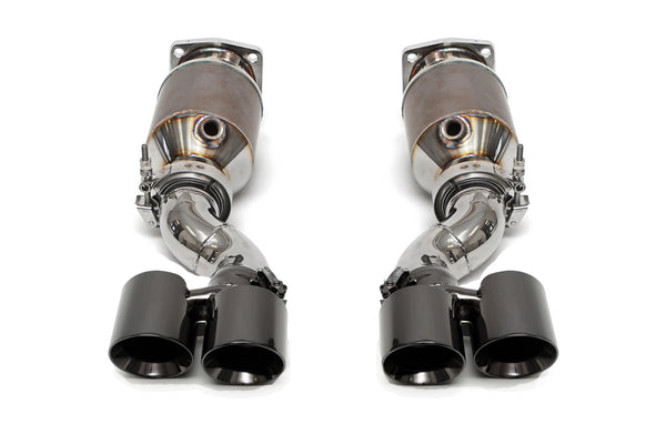 Fabspeed Muffler Bypass Catted Exhaust System (Satin Black Tips) for Porsche 997 Turbo 2006-2009