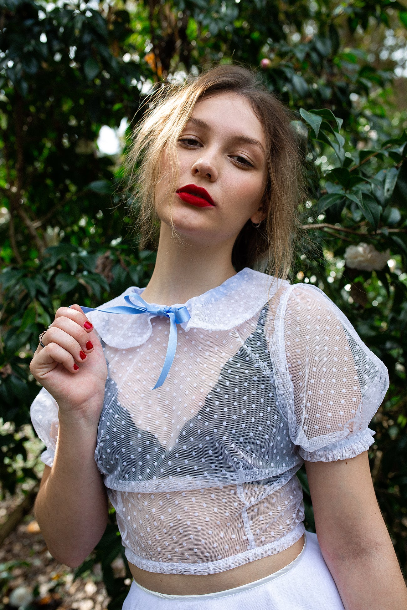 I found Lucy. sheer dot white top peter pan collar image
