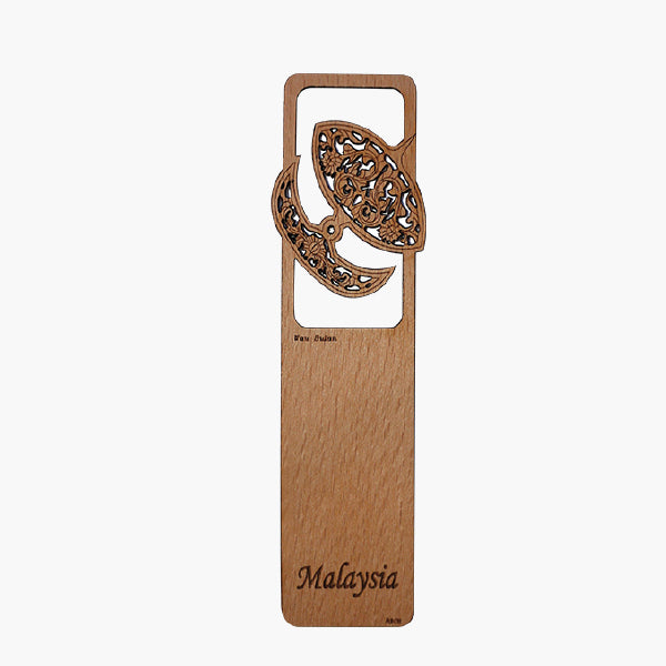 Wood Veneer Bookmarks  - Traditional Wau Bulan