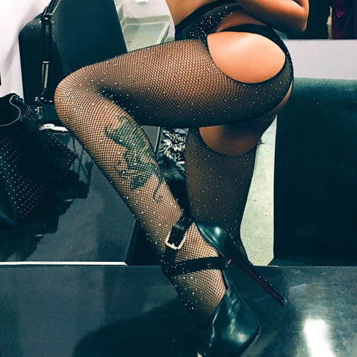 Rhinestone Mesh Crotchless Tights