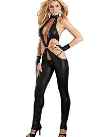 Leather Open Crotch Bodysuit