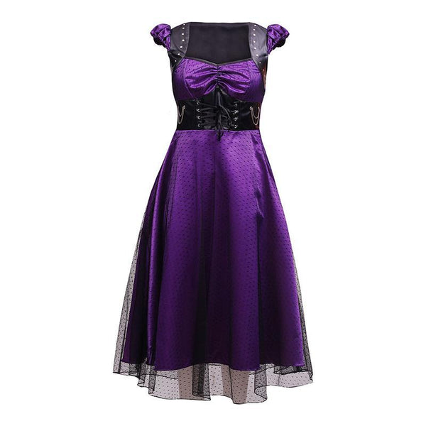 Size Small - Gothic Dots Dress - Purple