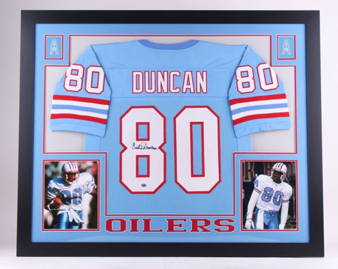 Curtis Duncan Signed Houston Oilers 35x43 Custom Framed Jersey (GTSM COA)