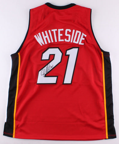 Hassan Whiteside Signed Red Miami Heat Jersey (Hollywood Collectible's COA)
