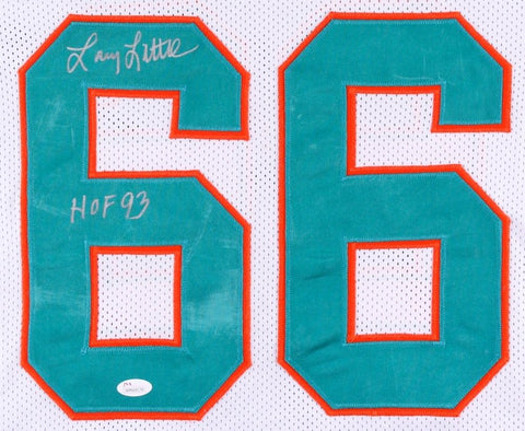 "Larry Little Signed Dolphins Jersey Inscribed ""HOF 93"" (JSA COA) 1972 Miami 17-0"