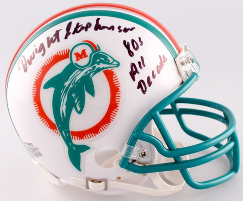 Dwight Stephenson Signed Dolphins Throwback Mini Helmet Inscirbed 80s All Decade
