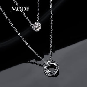 White Gold Double Layered Pendant Necklace