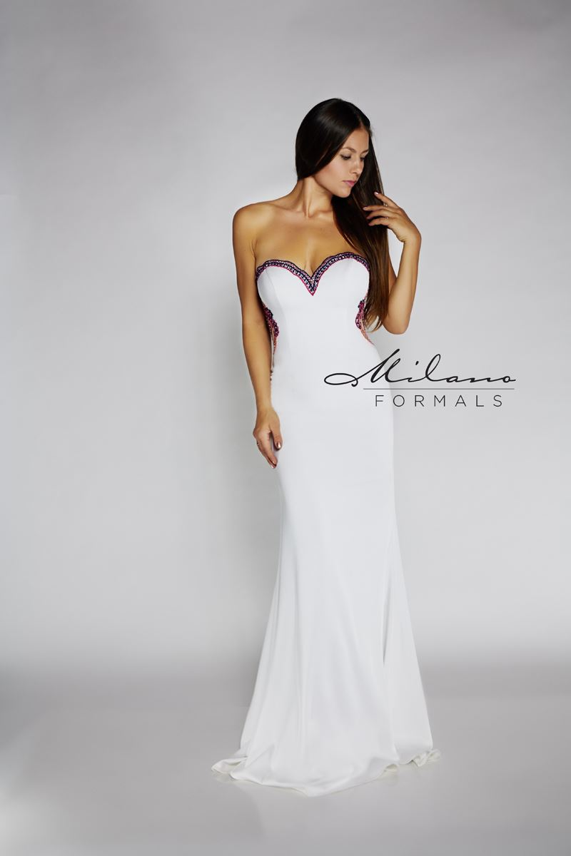 Milano Formals E2115 Strapless Long Prom Dress