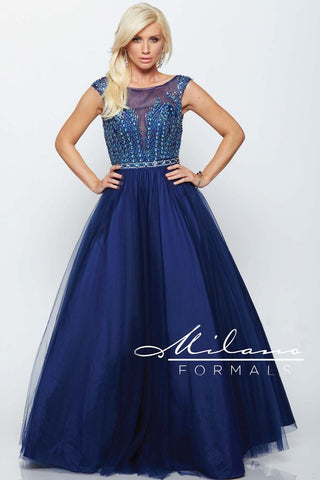 Milano Formals E2182 Sleeveless Navy Gown