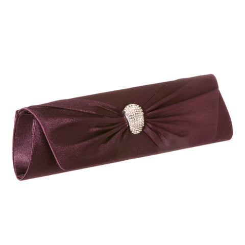 Satin Clutch Purse with Rhinestone Detail 19292