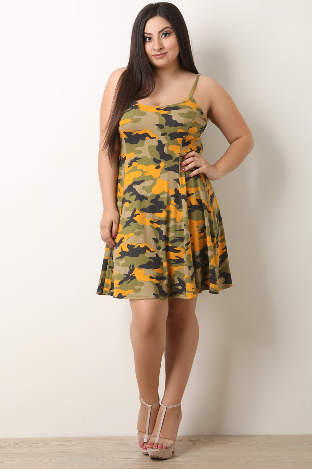 Camouflage Soft Knit Spaghetti Strap Skater Dress