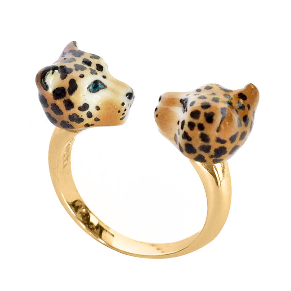Leopard face to face ring