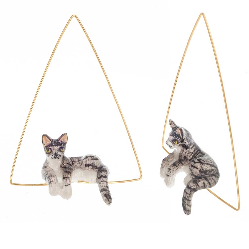 Lying Grey Cat triangle hoops earrings