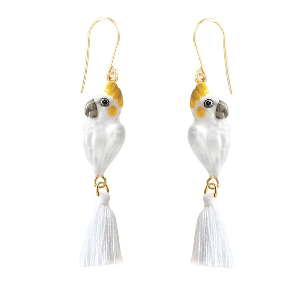 White Cockatoo with Pompon Tail earrings