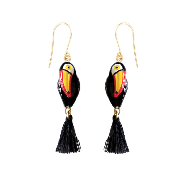 Toucan with Pompom earrings