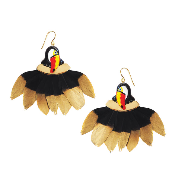 Toucan Head with feathers Frida Kahlo earrings