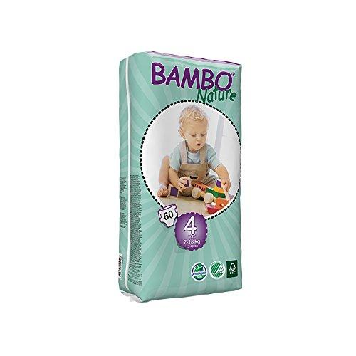 Bambo Nature Maxi Size 4 (15-40lb / 7-18kg) Eco Nappies - 60 pieces per Tall Pack