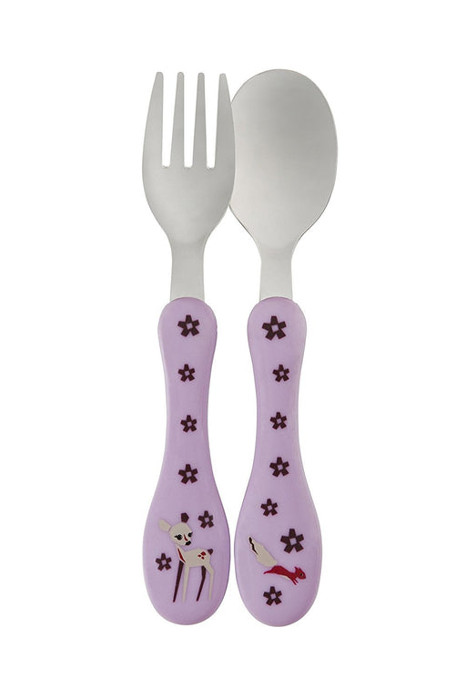 Lassig Kids 2 Set Stainless Steel Cutlery Fork and Spoon Utensil Set with Case, Little Tree Fawn