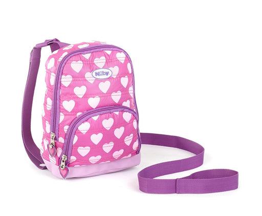 Nuby 2 in 1 Quilted Harness Backpack, Quilted Hearts, Pink, Child Leash, Baby Walking Safety Harness, Kid Backpack with Tether, Toddler Travel, Wrist Leash