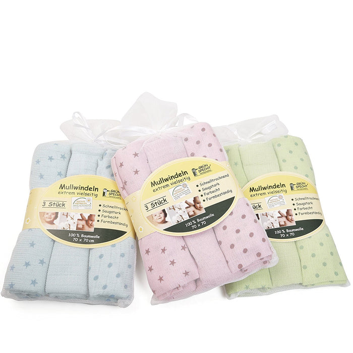 Grünspecht 167-V2 Muslin Nappies 70 x 70 cm Blue Pack of 3
