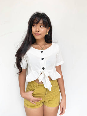 Linen Ribbon Crop Top