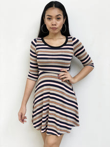 Striped Knitted Skater Dress