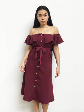 Buttoned Off Shoulder Midi Dress