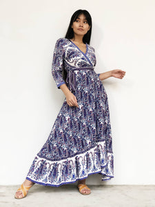 Retro-Printed Maxi Wrap Dress