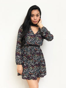 Choker Floral Waist-Tie Dress