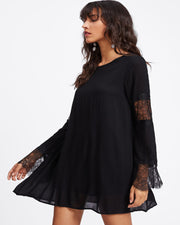 Roiii Women  Chiffon Dress Summer Dresses Long Sleeve Lace Casual Vestidos Black Short Mini Skirt