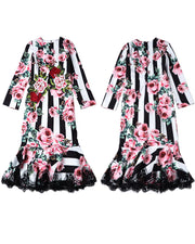 ROIII Lace Frill Fishtail Women Dress Rose Floral Printing Skirt
