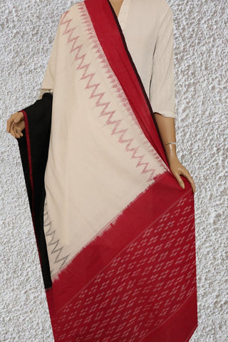 Off White with Black and Red Handwoven Ikat Dupatta