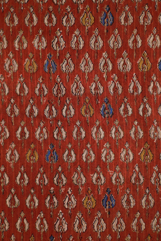 Rust Red with Gold Print Block Printed Cotton Fabric-1.5 m