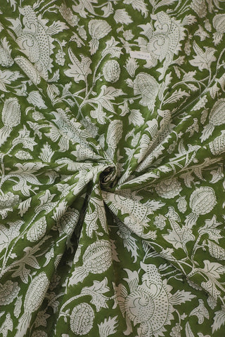 Moss Green Sanganeri Cotton Fabric-0.5 m