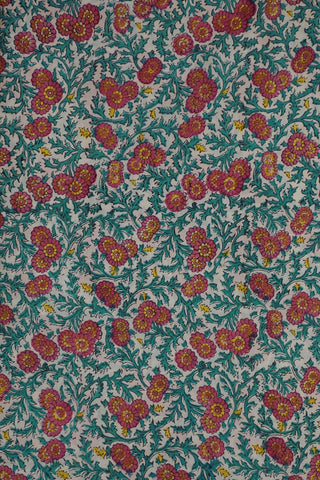 Pink with Bluish Green Floral Sanganeri Cotton Fabric-1 m