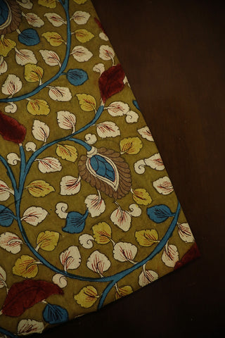 Olive Green Floral Hand Painted Kalamkari Fabric-1.2 m