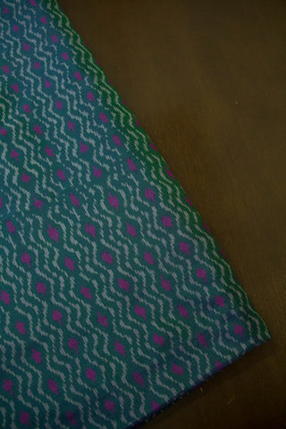 Subdued Double shade Greyish Green with pink Silk Ikat  Fabric - 0.5m
