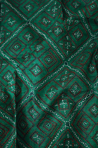 Green Embroidered Kantha Work Tussar Silk Blouse Fabric