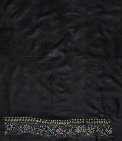 Dark Grey Kantha Work Tussar Silk Blouse Fabric